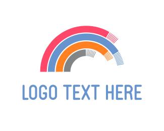 Curved - Slinky Rainbow logo design