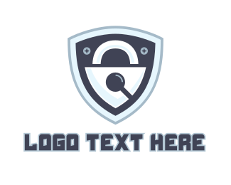 Search - Padlock Shield logo design