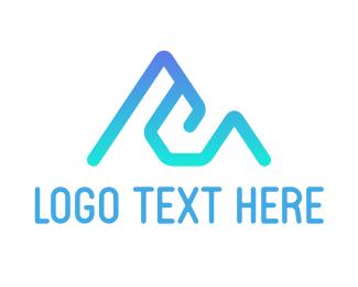 Everest - Blue Mountain E Outline logo design