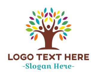 Organization - Colorful Human Tree logo design