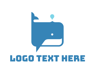 Speech - Whale Blowhole Spouting logo design
