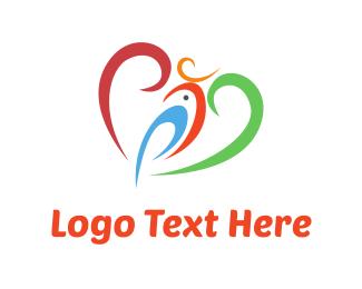 Macaw - Heart & Parrot logo design