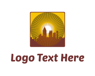 Village - Yellow City Sunset logo design