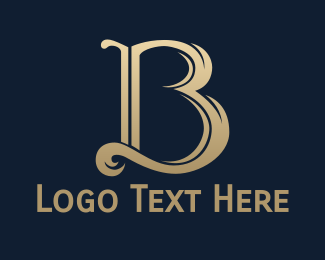 Luxury - Gold Cursive B logo design