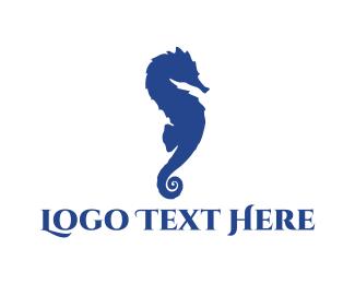 Seahorse - Blue Seahorse logo design