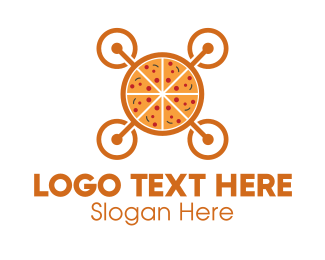 Drone - Pizza Drone logo design
