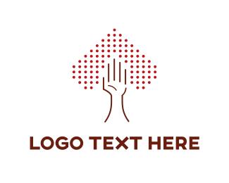 Dots - Heart & Hand logo design