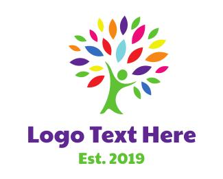Growth - Vibrant Human Tree logo design