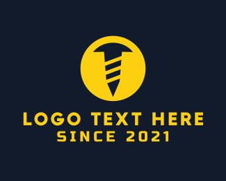 Bolt - Blue & Yellow Screw logo design