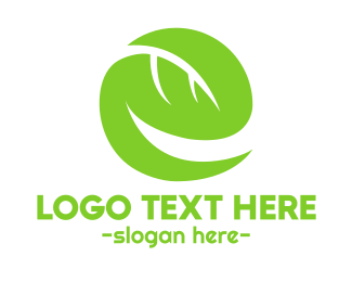 Green Tea - Leaf Letter E logo design