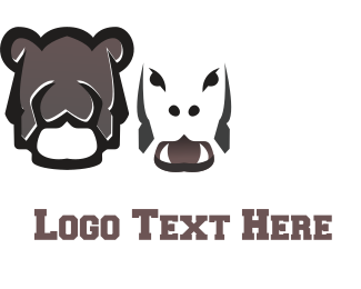 African - Brown Hippo logo design