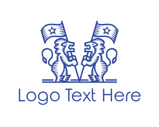 University - Vintage Blue Mascot Lions logo design