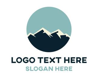 Valley - Snowy Mountain Peak logo design