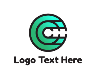 Initial - Gradient Green Disc C logo design
