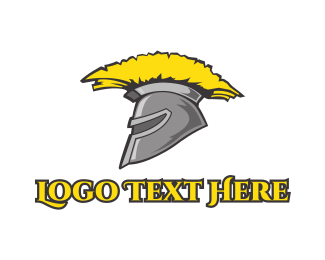 Greek - Spartan Yellow Helmet logo design