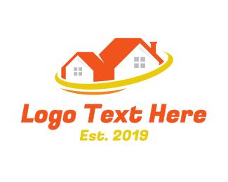 Galaxy - Orange House Planet  logo design