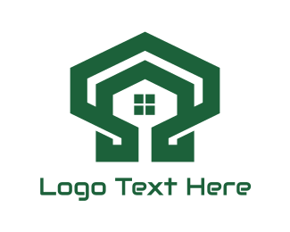 Decoration - Green Hexagon Shell House logo design