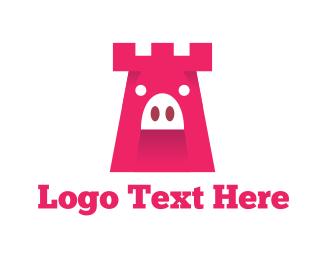 Pig - Pig Tower logo design