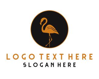 Flamingo - Golden Flamingo logo design