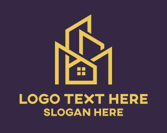Geometry - Modern Blue Edgy Building logo design