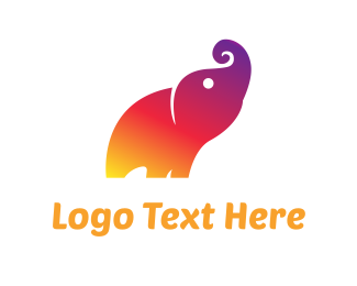 Trunk - Colorful Elephant logo design
