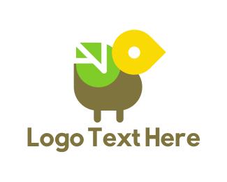 Hipster - Leaf Bird logo design