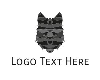 Veterinarian - Black Wolf Face logo design