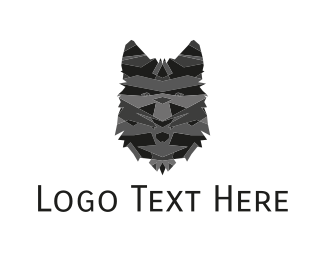 Wolf - Black Wolf Face logo design