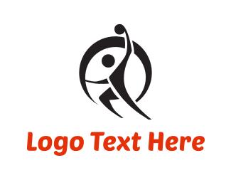 Running - Handball Modern Character logo design