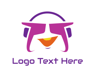 Stereo - Funky Purple Headset logo design