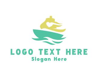 Sailboat - Love Ship logo design