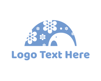 Negative Space - Floral Elephant logo design