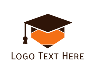 Student - Pencil Graduation Cap logo design