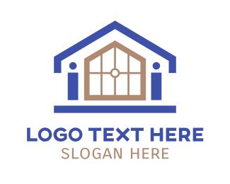 Land - Small House Outline logo design