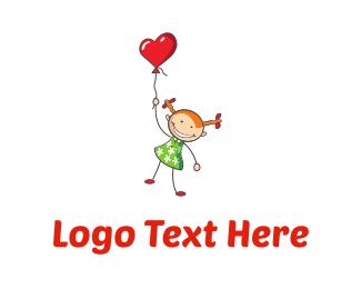 Preschool - Girl & Heart Balloon logo design