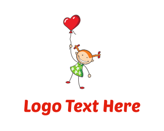 Dress - Girl & Heart Balloon logo design