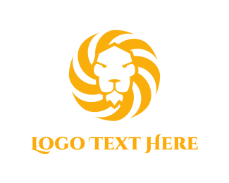 Luxurious - Sun & Lion  logo design