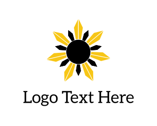 Sunshine - Black & Yellow Flower logo design