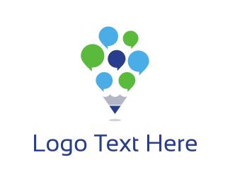 Blogging - Pencil Chat logo design