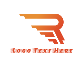 Airline - Rushing Orange R logo design