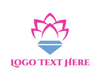 Botanist - Pink Lotus Diamond logo design