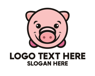 Farm Animal - Pink Piggy logo design