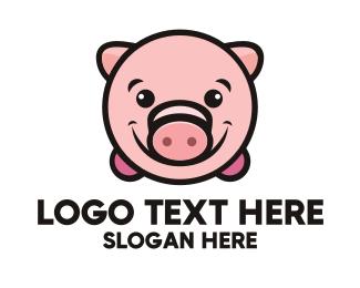 Mascot - Pink Piggy logo design