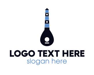 Band - Guitar Light House logo design