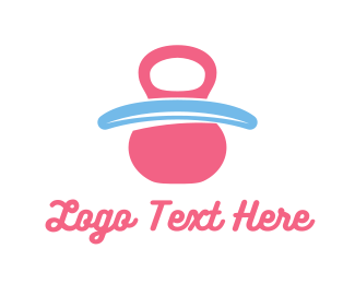 Weights - Pink Baby Pacifier logo design