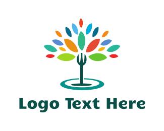 Waitress - Organic Fork  logo design