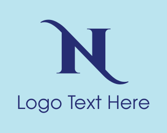 """Elegant Blue Letter N"" by BrandCrowd"