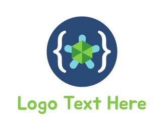Brackets - Turtle Code logo design
