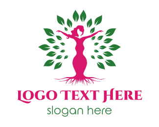 Therapy - Pink Female Tree logo design