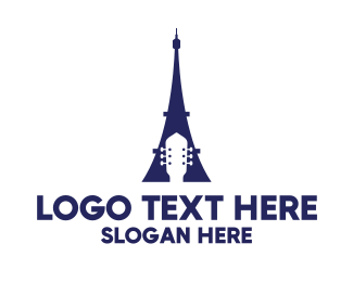 Acoustic - Blue Eiffel Guitar logo design